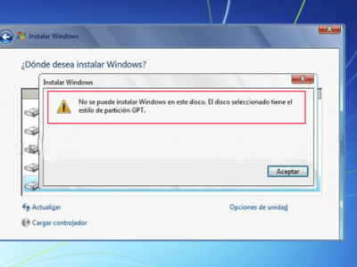 Cómo resolver el error: No se puede instalar Windows en este disco