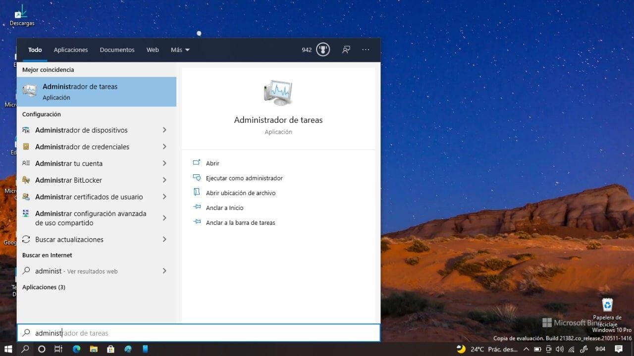 Administrador tareas Windows 10